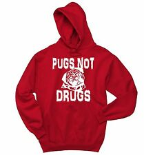 Pugs Not Drugs Funny Crewneck Sweatshirt Puppy Dog Lover Animals Gift Hoodie