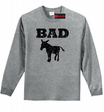 Bad @ss Donkey Funny L/S T Shirt Distressed Donkey Animal Rude Party Tee Z1