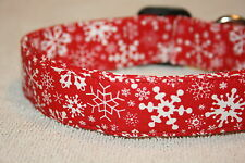 Red Snowflakes Christmas Adjustable Dog & Cat Collars & Martingales & Leashes