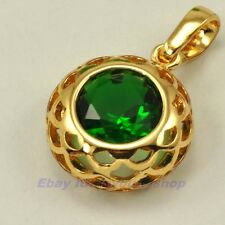 2.5ct COLORFUL CZ SOLITAIRE IN CARVED RING 2g CHARM 18K YELLOW GOLD GEP SOLID