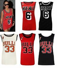 Ladies New Varsity HEAT 6 & BULLS 33 Basketball Ladies New Vest Top UK size S-L