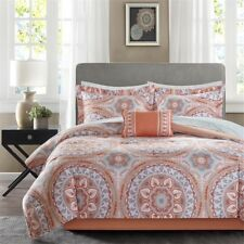 Twin XL Full Queen Cal King Bed Coral Gray Medallion Damask 9 pc Comforter Set