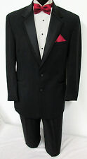 44XL Black Perry Ellis Two Button Tuxedo With Pants Wedding Prom Cruise Mason