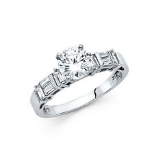 14k Solid White Gold Diamond Engagement Ring 1 Ct Round Cut with Baguette