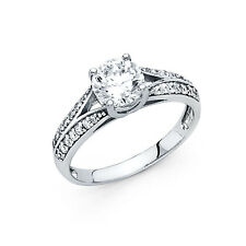 14k Solid White Gold 1.5 Ct Diamond Engagement Ring Round Cut Solitaire