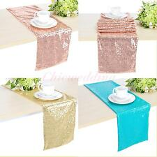 "1PC 11""*68"" Satin Sequined Table Runner Wedding Party Decor Table Cover Colors"