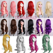 Women Lady Long Curly Wavy Synthetic Anime Cosplay Party Wig 70CM + Free Hairnet