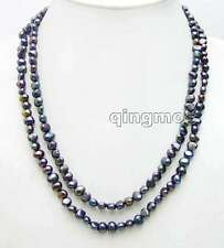 "Fashion Long 40"" Natural Black 6-7mm Baroque freshwater pearl necklace-nec6108"