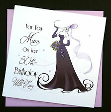 Handmade Purple Lady Birthday Card Any Age Female Relative