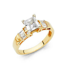 14k Solid Yellow Gold 1.50 Ct Diamond Engagement Ring Square Princess Cut