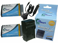 2x Battery +Charger +Car Plug +EU Adapter for Nikon Coolpix s8200, p300, s6100
