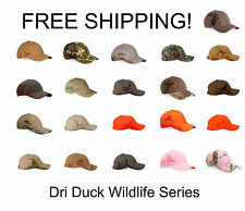 DRI DUCK WILDLIFE SERIES CAPS, NEW WITH TAGS, CHOICE OF COLORS AND STYLE