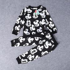 Boy Kid Baby Mickey Mouse Top Shirt Long Pants Set Party Outfit 2PCS Cotton 2-7Y