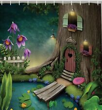 Magical Fairy Tale Tree House Kids Fabric SHOWER CURTAIN Story Enchanted Forest