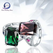 12.9CT AAA Spessartine Garnet & Emeral 925 Sterling Silver Ring Womens Jewlery