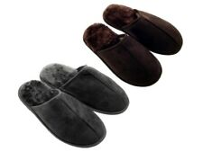 Luxury Mens Slippers Slip On Mules Fur Lined Soft Warm Comfort Open Back Size