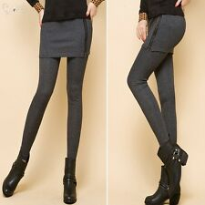 Womens High Waist Slim Stretch Skinny Leggings With Zipper Skirt Casual Pants