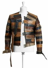 MAISON MARTIN MARGIELA For H&M RARE Brown Leather Belt Biker Jacket SMALL