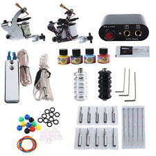 Complete Tattoo Kit with 2 Machine Guns Pigment Ink Tips Power Supply 20 Needles