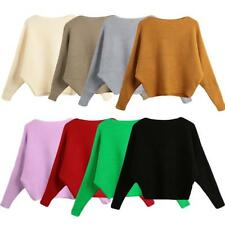 Womens Sweater Knitted Pullover Batwing Sleeve Loose Knitwear Top Jumper I9Q0