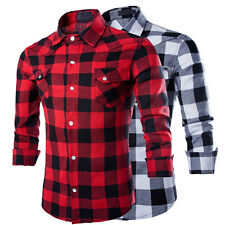 Fashion Men's Casual Checks Plaid Slim Fit Stylish Dress Formal Shirts Tee Tops