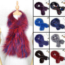 Women Real Kintted Whole Fox Fur Scarf Shawl Collar Stole Cape Warm Scarf Wrap