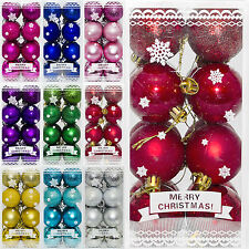 16 Christmas 4cm Glitter Metallic Hanging Baubles Tree Ornaments Decorations