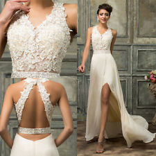 Stylish Beige Long Wedding Dress Party Ball Prom Gown Sleeveless Bridesmaid Gown