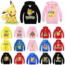 Boys Girls Pokemon Pikachu Hoodies Sweatshirt Coat Kids Hoodied Top Outfits Sets