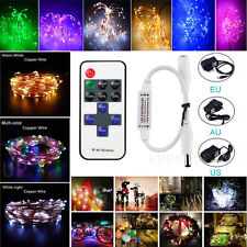 Xmas 5M 10M 20M 30M 50M Copper Silver Wire String Light Waterproof +Remote+Power