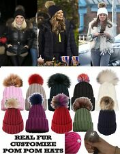 NEW WOMEN CUSTOMIZABLE KNITTED BEANIE REAL FUR COLOUR POM POMS CAPS BOBBLE HATS
