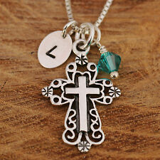 925 Sterling Silver Personalised Filigreed Cross Pendant Necklace & Birthstone