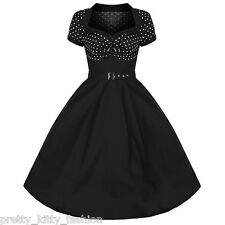 PRETTY KITTY ROCKABILLY 50s BLACK POLKA DOT VINTAGE PIN UP SWING PROM DRESS 8-22