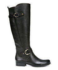 Naturalizer Women's Joylynn Black Leather Riding Wide Calf Boot