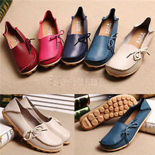 New Womens Genuine Leather Comfort Casual Walking Bowed Flat Shoes Loafers