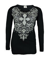 Vocal Women Plus Size Tunic Shirt L/S Tribal Crystal Cross Round Neck in Black