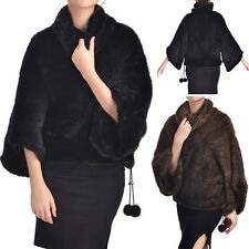 Genuine Knitted Mink Fur Coat Poncho Stole Cape Jacket Top Trendy Winter Vintage