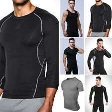 Mens Sport Compression Base Layers Tops Tight T-Shirts/Vests/Athletic Tops New