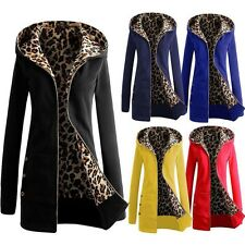 Women Warm Winter Leopard Hoody Hoodies Parka Coat Overcoat Long Jacket Outwear