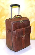 Real Leather Cabin size Suitcase Trolley bag Weekend Overnight Luggage Crocodile