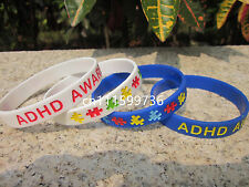 ADHD Awareness Silicone Purple Blue&White Colours Wristband Bracelet