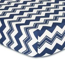 The Peanut Shell Chevron Fitted Bassinet Sheet (Navy)
