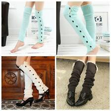 Fashion Women Crochet Knit W/Button Leg Warmers Lace Trim Cuffs Boot Socks Long