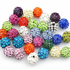 20pcs Charm Czech Crystal Rhinestones Pave Clay Round Disco Ball Spacer Beads