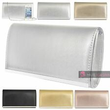 NEW LADIES SHINY FAUX LEATHER METAL TRIM CHAIN SIMPLE CLUTCH BAG PURSE