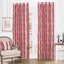 LUXURY LYM STRIPES RING TOP FULLY LINED PAIR EYELET READY MADE CURTAINS RED NEW