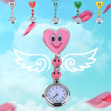 Lovely Women Ladies Smiling Face Pocket Watch Heart Pendant Quartz Nurse Watches