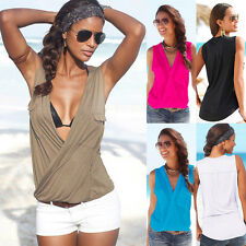 Women Deep V Neck Casual Shirt Sleeveless Vest Top Plain Blouse Summer Tank Top