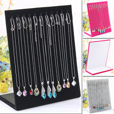L Type Holder Jewelry Stand Velvet Show Display Necklace Pendant Chain 11 Hook