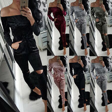 Womens Off Shoulder Shiny Velvet Jumpsuit Ladies Evening Party Playsuit Bodysuit